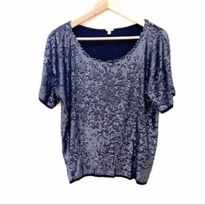 J. Crew blue / charcoal sequin blouse S